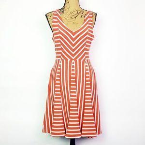 Saturday Sunday Orange Striped Day Dress. Small